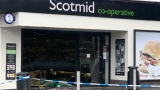The damaged Scotmid shop in Clarkston, East Renfrewshire.