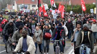 Calais migrant demonstration