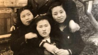 Michiko (on right) and friends
