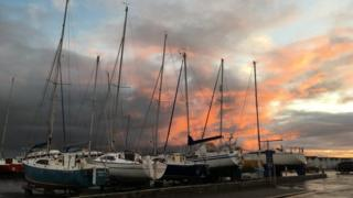 Boats at Lyme Regis harbour