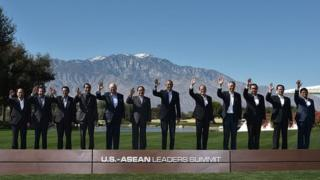 US President Barack Obama and leaders take part in a group photo during a meeting of the Association of Southeast Asian Nations (ASEAN) at the Sunnylands estate on February 16, 2016 in Rancho Mirage, California.