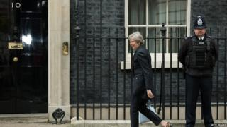 Theresa May arriving in Downing Street