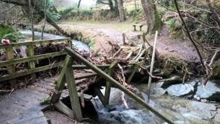 Flood damage in an Isle of Man glen