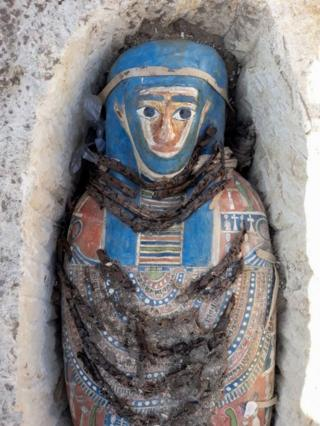 A pharaonic-era mummy is seen in Giza, Egypt - 27 November 2018