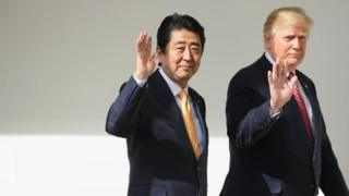 Japanese Prime Minister Shinzo Abe (left) and US President Donald Trump in Washington. Photo: 10 February 2017