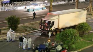 Nice terror attack: Forensic officers investigate a truck after it ploughed through Bastille Day revellers in the French resort city of Nice, France, Thursday, July 14, 2016.