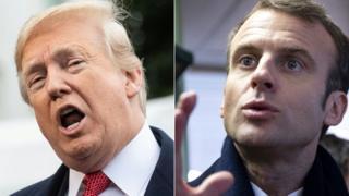Fransa Cumhurbaşkanı Emmanuel Macron ve Trump