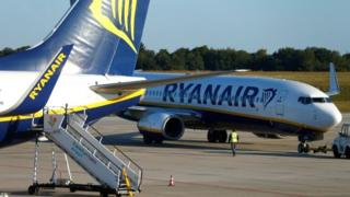 Ryanair planes on runway