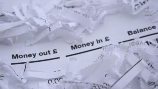 Shredded bank documents
