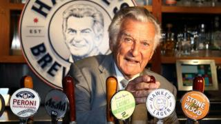 Bob Hawke pours Hawke's Lager at the launch of Hawke's Lager at The Clock Hotel on April 6, 2017 in Sydney, Australia.