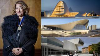 Dame Zaha Hadid with three of the buildings she has designed
