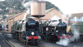 Trains at Minehead station