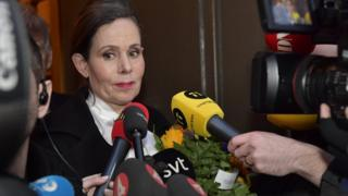 Swedish Academy's Permanent Secretary Sara Danius talks to journalists as she leaves a meeting of the Swedish Academy in Stockholm