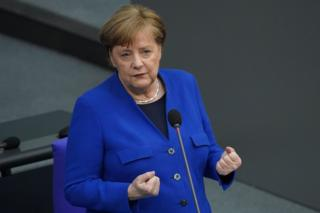 German Chancellor Angela Merkel in parliament in Berlin, 13 May