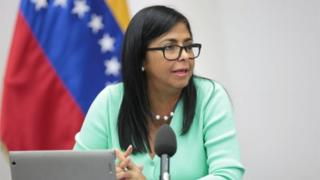 Venezuela's Vice President Delcy Rodriguez speaks during a meeting with ministers at Miraflores Palace in Caracas, Venezuela June 23, 2018.