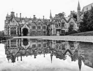Black and white photograph of Tyntesfield house