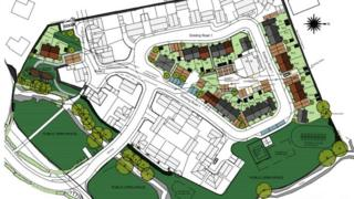 A site plan for homes in the area