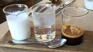 "A ""deconstructed flat white"" served at a Melbourne cafe"