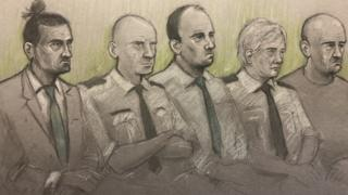 Mr Evesham, left, Mr Harley, middle, and Mr Osborne, right, at Newport Crown Court