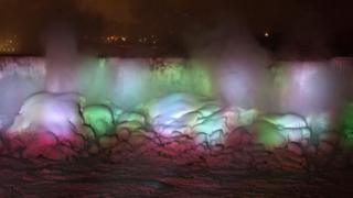illuminated frozen niagara falls