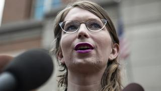 Chelsea Manning speaks to the press ahead of a grand jury appearance about WikiLeaks, in Alexandria, Virginia, on May 16, 2019
