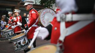 Drummers in a loyalist marching band