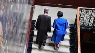 Nigeria president Muhammadu Buhari and Patricia Scotland (R), secretary-general of the Commonwealth