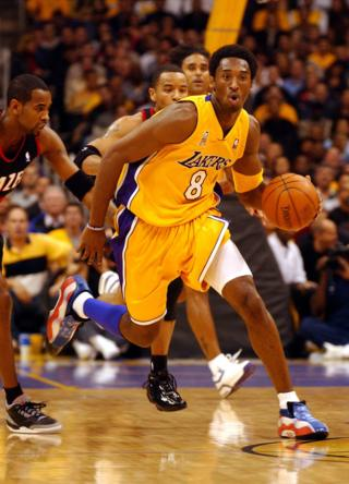 Kobe Bryant during a Lakers game against Portland Trail Blazers in Los Angeles in 2001