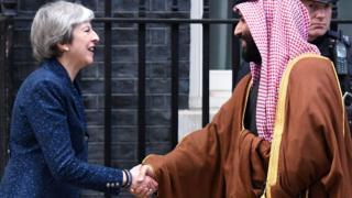 Theresa May and crown prince Mohammad bin Salman
