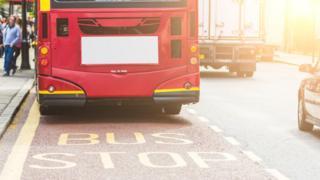 Bus at a stop