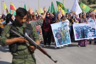 Kürtlerin Haseke'de düzenledikleri protesto gösterisi