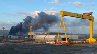 , Bombardier: Firefighters tackle 'significant' blaze at Belfast docks