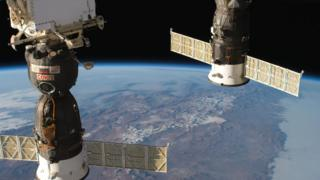 Two docked Russian spacecraft on the International Space Station (ISS), the Soyuz MS-09 crew ship and the Progress 70 resupply ship