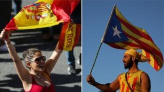 Biểu tình tại Barcelona giữa những người ủng hộ thống nhât (trái) và ủng hộ ly khai (phải)