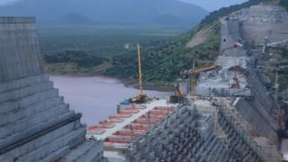 Ethiopia's Grand Renaissance Dam under construction on the river Nile