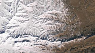 Satellite image of snow in the desert
