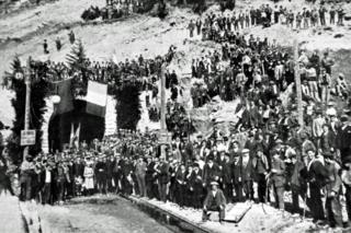 Celebrating the digging of the Somport tunnel in 1912