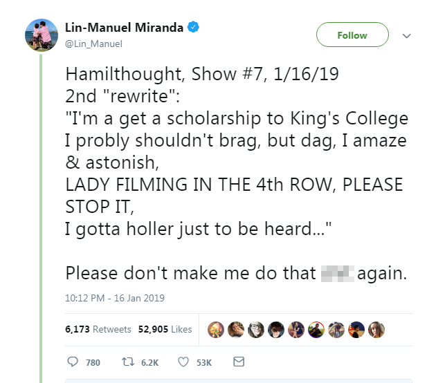 Lin-Manuel Miranda raps fan for filming Hamilton