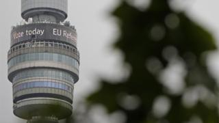 "BT Tower displays ""Vote Today"" sign"
