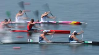 Jon Schofield and Liam Heath of Great Britain compete in the canoe sprint men's kayak double 200m semi-final