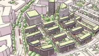Artist's impression of how the town centre of Swindon could be changed