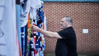 Scarves outside Gigg Lane