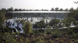 Một góc nhìn của hội trường Steve Jobs tại Apple Park ở Cupertino, California
