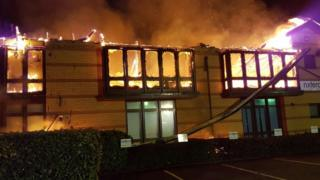 The fire at the building on Waterbury Drive in Waterlooville