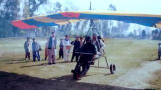 Nasim Yousufzai flies his makeshift aircraft