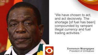 "President Mnangagwa on Zimbabwe on left, quote: ""We have chosen to act decisively..."" on right"
