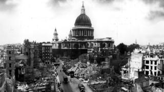 Bomb damage around St Paul's Cathedral in London.