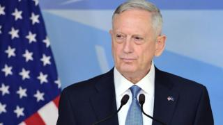 "US Defence Minister James Mattis addresses the press during a NATO defence ministers"" meetings at the NATO headquarters in Brussels"