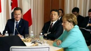 From left to right: British PM David Cameron, Italian PM Matteo Renzi and German Chancellor Angela Merkel. Photo: May 2016