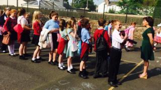 Crosby-on-Eden School pupils in the playground